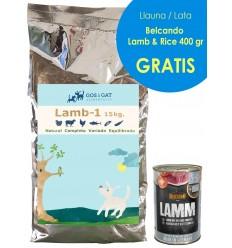 Gos i Gat Adult Cordero y Arroz 15 Kg. Pienso para Perros Adultos con Cordero, Arroz y Atún: Digestibilidad y Pelo Brillante