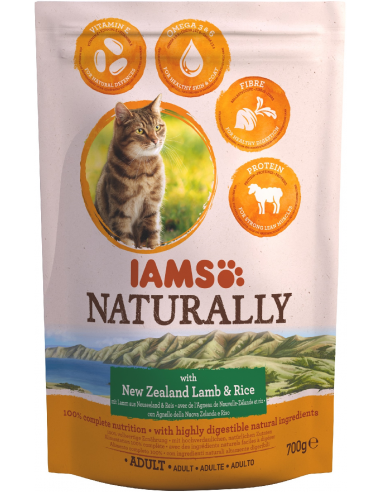 Iams Naturally Cat Adult Xai 700 gr Pinso Gats Adults Totes les Races Dieta Normal Xai Arròs  8710255134901